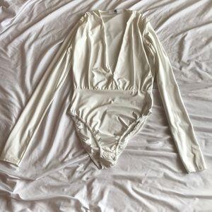 White Missguided Silky Bodysuit